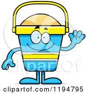 Cartoon Of A Waving Beach Pail Mascot Royalty Free Vector Clipart by Cory Thoman