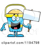 Cartoon Of A Happy Beach Pail Mascot Holding A Sign Royalty Free Vector Clipart
