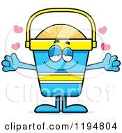 Cartoon Of A Loving Beach Pail Mascot Wanting A Hug Royalty Free Vector Clipart