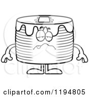 Cartoon Of A Black And White Sick Pancakes Mascot Royalty Free Vector Clipart by Cory Thoman