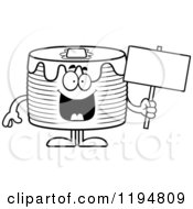 Cartoon Of A Black And White Happy Pancakes Mascot Holding A Sign Royalty Free Vector Clipart by Cory Thoman