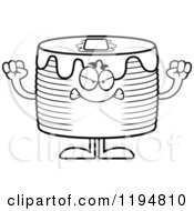 Cartoon Of A Black And White Mad Pancakes Mascot Royalty Free Vector Clipart by Cory Thoman
