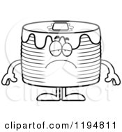 Cartoon Of A Black And White Depressed Pancakes Mascot Royalty Free Vector Clipart by Cory Thoman