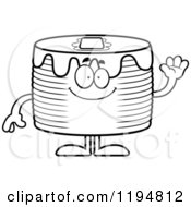 Cartoon Of A Black And White Waving Pancakes Mascot Royalty Free Vector Clipart by Cory Thoman