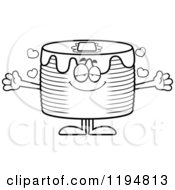 Cartoon Of A Black And White Loving Pancakes Mascot Wanting A Hug Royalty Free Vector Clipart by Cory Thoman