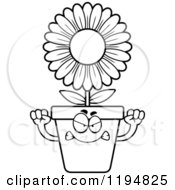 Cartoon Of A Black And White Mad Flower Pot Mascot Royalty Free Vector Clipart by Cory Thoman