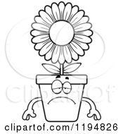 Cartoon Of A Black And White Depressed Flower Pot Mascot Royalty Free Vector Clipart by Cory Thoman