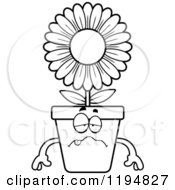 Cartoon Of A Black And White Sick Flower Pot Mascot Royalty Free Vector Clipart by Cory Thoman