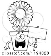 Cartoon Of A Black And White Happy Flower Pot Mascot Holding A Sign Royalty Free Vector Clipart by Cory Thoman