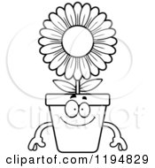 Cartoon Of A Black And White Happy Flower Pot Mascot Royalty Free Vector Clipart by Cory Thoman