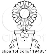 Cartoon Of A Black And White Surprised Flower Pot Mascot Royalty Free Vector Clipart by Cory Thoman