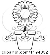 Cartoon Of A Black And White Loving Flower Pot Mascot Wanting A Hug Royalty Free Vector Clipart by Cory Thoman