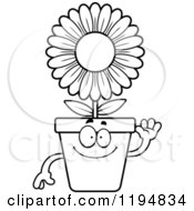 Cartoon Of A Black And White Waving Flower Pot Mascot Royalty Free Vector Clipart by Cory Thoman