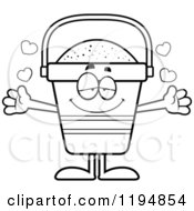 Cartoon Of A Black And White Loving Beach Pail Mascot Wanting A Hug Royalty Free Vector Clipart