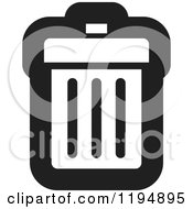 Clipart Of A Black And White Trash Bin Office Icon Royalty Free Vector Illustration