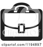 Clipart Of A Black And White Briefcase Office Icon Royalty Free Vector Illustration by Lal Perera