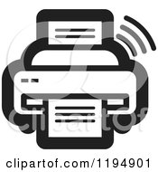 Clipart Of A Black And White Fax Machine Office Icon Royalty Free Vector Illustration