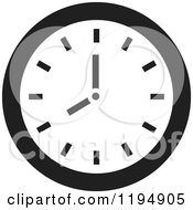 Clipart Of A Black And White Wall Clock Office Icon Royalty Free Vector Illustration by Lal Perera