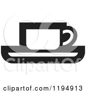 Clipart Of A Black And White Tea Or Coffee Office Icon Royalty Free Vector Illustration by Lal Perera