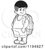 Black And White Happy School Boy With A Backpack