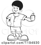 Black And White Happy School Boy Holding A Thumb Up