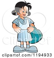 Clipart Of A Happy School Girl With A Bag Royalty Free Vector Illustration