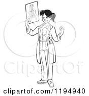 Clipart Of A Black And White Female Doctor Holding An X Ray Royalty Free Vector Illustration