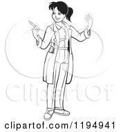 Clipart Of A Black And White Female Doctor Holding A Vaccine Syringe Royalty Free Vector Illustration
