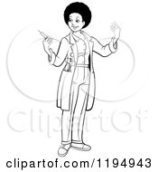 Clipart Of A Black And White Female African American Doctor Holding A Vaccine Syringe Royalty Free Vector Illustration