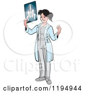 Clipart Of A Female Doctor Holding An X Ray Royalty Free Vector Illustration by Lal Perera