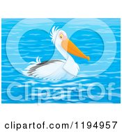 Cartoon Of A Pelican Floating On Blue Water Royalty Free Clipart by Alex Bannykh