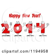 Cartoon Of Red 2014 Number Characters Under Happy New Year Text Royalty Free Vector Clipart