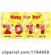Cartoon Of Red 2014 Number Characters Under Happy New Year Text Over Rays Royalty Free Vector Clipart