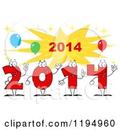 Cartoon Of Red New Year 2014 Number Characters Over A Burst With Balloons 2 Royalty Free Vector Clipart