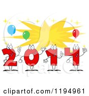 Cartoon Of Red New Year 2014 Number Characters Over A Burst With Balloons Royalty Free Vector Clipart