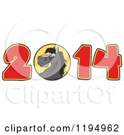 Cartoon Of A Black New Year 2014 Horse Royalty Free Vector Clipart