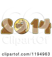 Cartoon Of A Brown New Year 2014 Horse With Wood Numbers Royalty Free Vector Clipart by Hit Toon