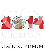 Cartoon Of A Brown New Year 2014 Horse Royalty Free Vector Clipart