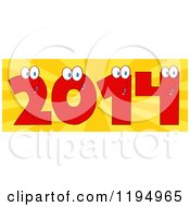 Cartoon Of Red New Year 2014 Number Characters Over Rays Royalty Free Vector Clipart