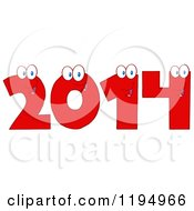 Cartoon Of Red New Year 2014 Number Characters Royalty Free Vector Clipart