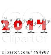 Cartoon Of Red New Year 2014 Number Characters Counting With Their Hands Royalty Free Vector Clipart