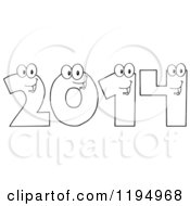 Cartoon Of Outlined New Year 2014 Number Characters Royalty Free Vector Clipart