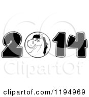 Cartoon Of A Black And White New Year 2014 Horse Royalty Free Vector Clipart