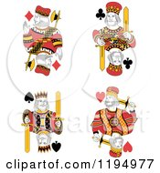 Clipart Of Isolated Playing Card Kings Royalty Free Vector Illustration