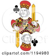 Clipart Of An Isolated King Of Clubs Royalty Free Vector Illustration