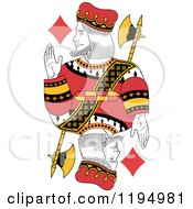 Clipart Of An Isolated King Of Diamonds Royalty Free Vector Illustration