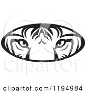 Clipart Of A Black And White Tiger Eyes Oval Royalty Free Vector Illustration