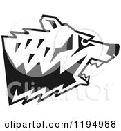 Clipart Of A Black And White Growling Bear Head In Profile Royalty Free Vector Illustration by Johnny Sajem