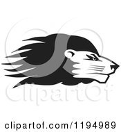 Clipart Of A Black And White Lion Head Royalty Free Vector Illustration by Johnny Sajem