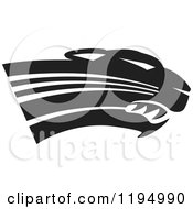 Clipart Of A Black And White Panther Cougar Or Jaguar Mascot Head Royalty Free Vector Illustration by Johnny Sajem